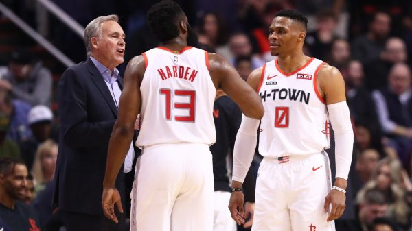 Russell Westbrook, James Harden and Mike D'Antoni
