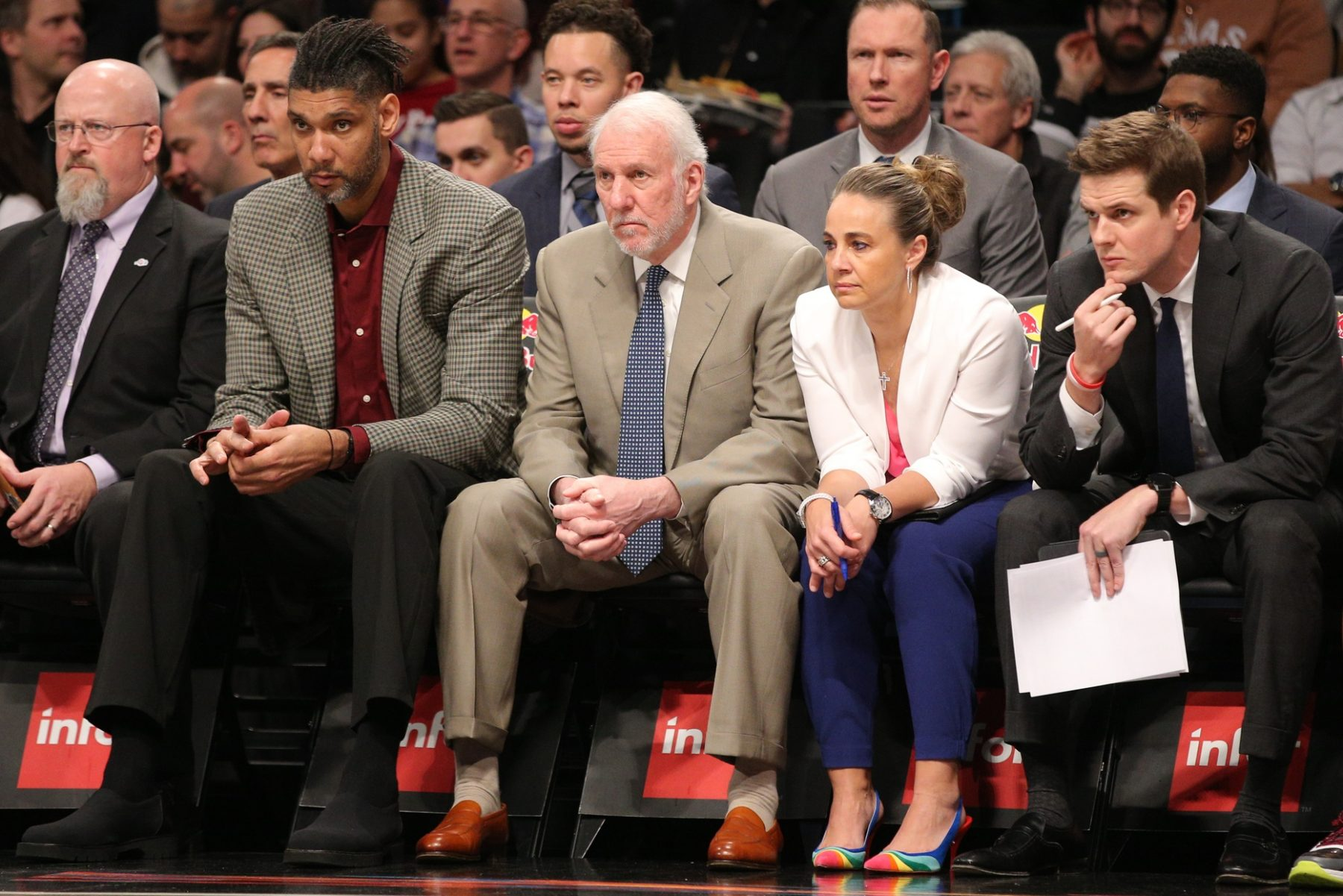 Tim Duncan, Gregg Popovich and Becky Hammon