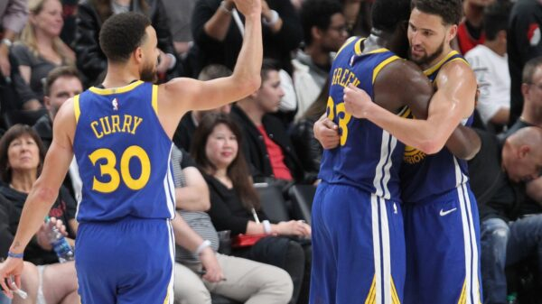 Stephen Curry, Draymond Green and Klay Thompson