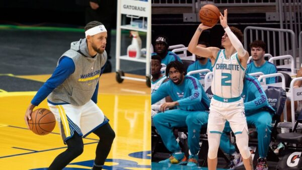 Stephen Curry and LaMelo Ball