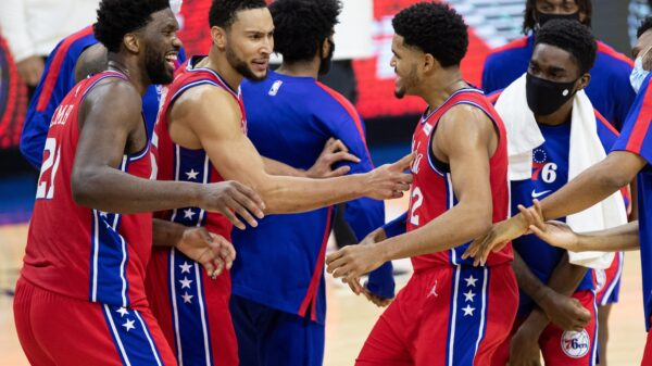Joel Embiid, Ben Simmons and Tobias Harris