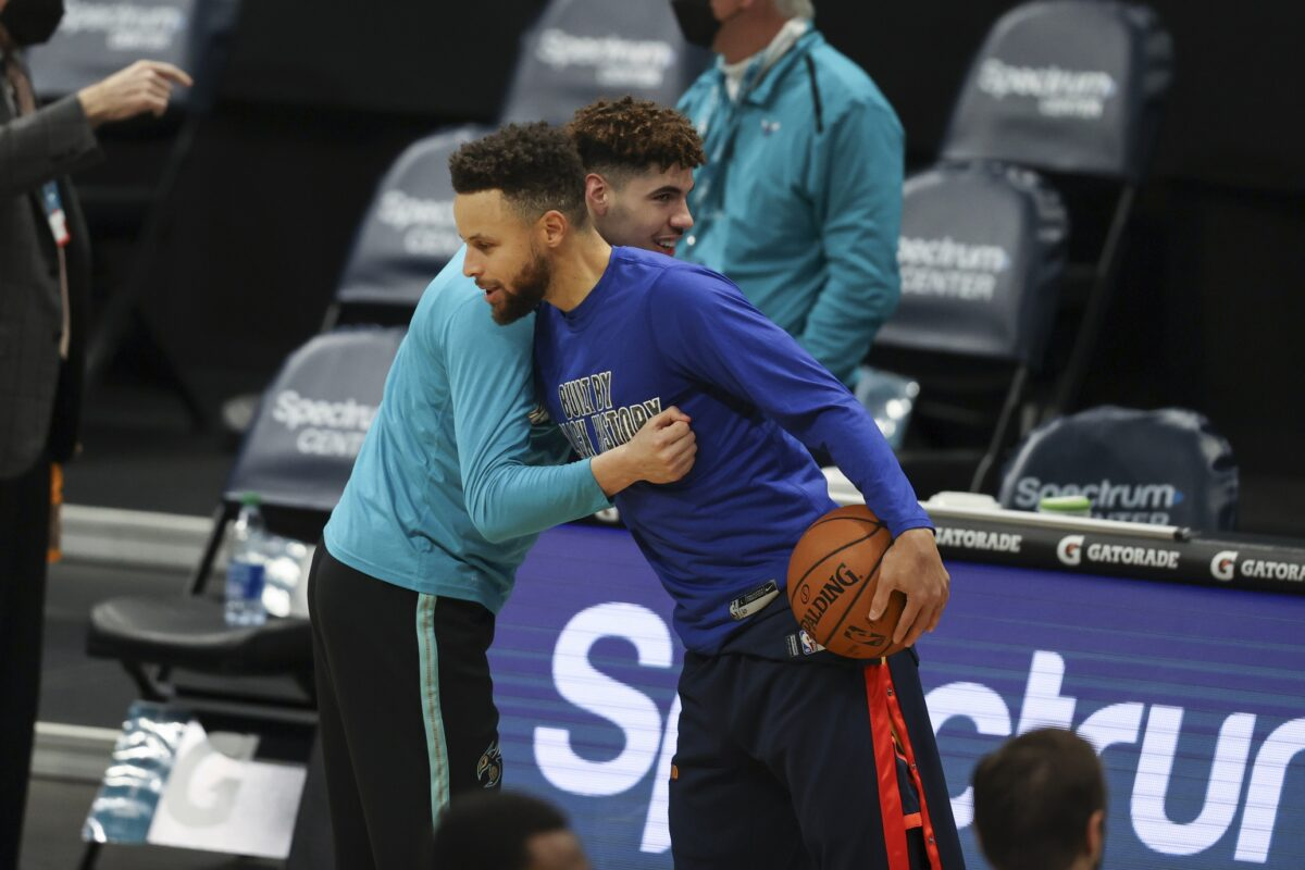 LaMelo Ball and Stephen Curry