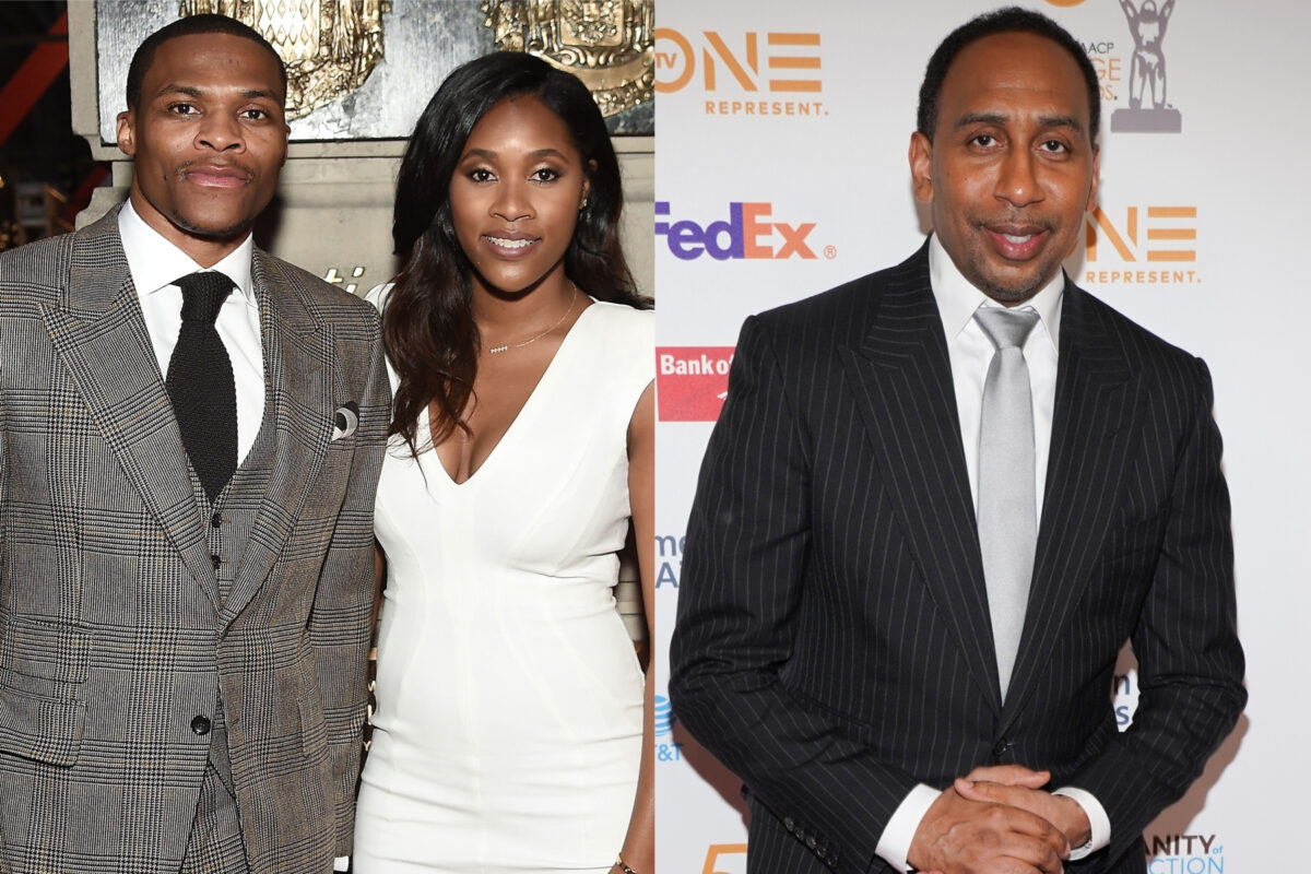 Russell Westbrook, Nina Earl and Stephen A. Smith
