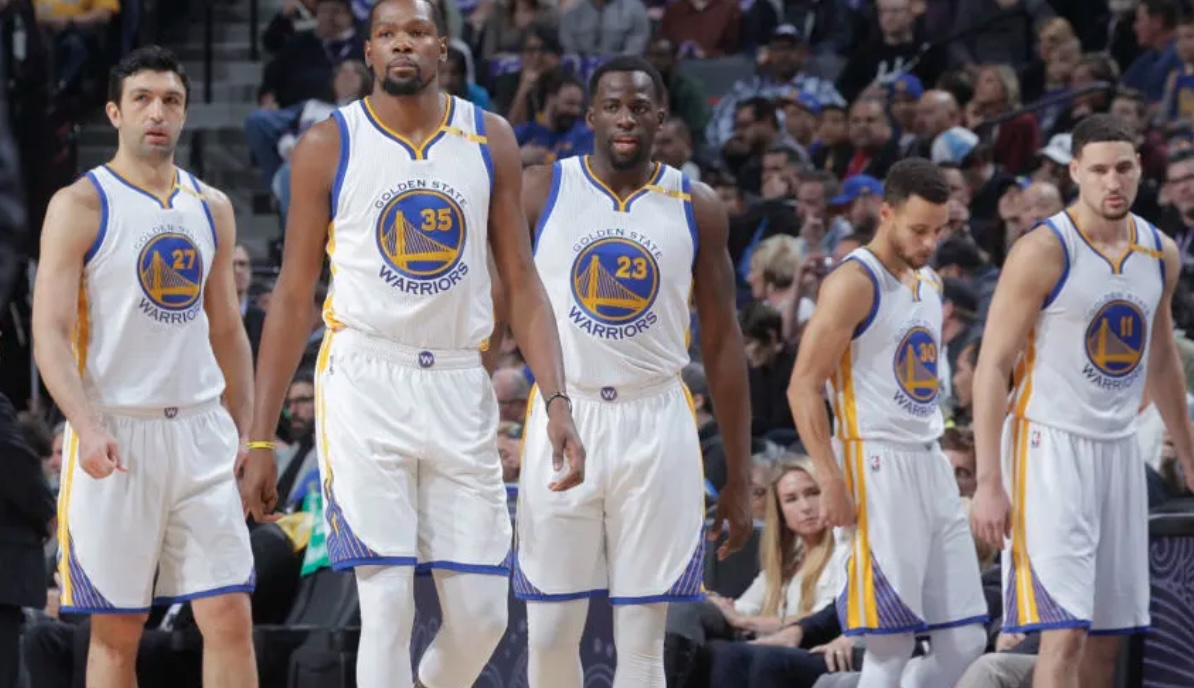 Kevin Durant, Draymond Green, Stephen Curry and Klay Thompson