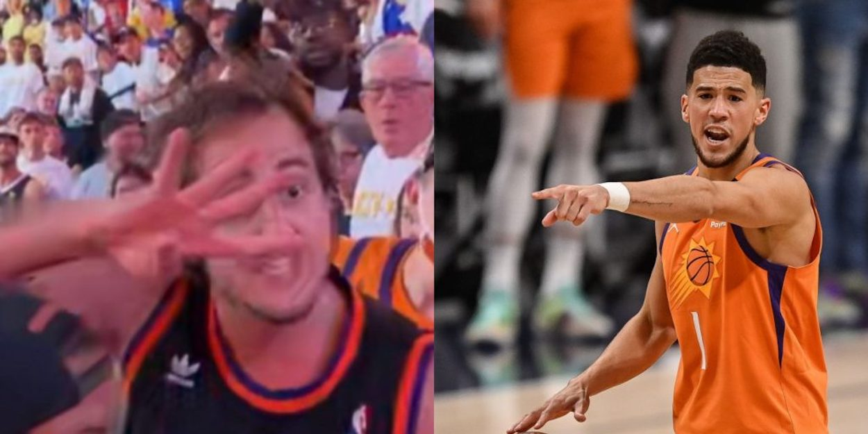 Devin Book with Suns fan