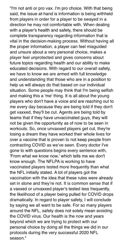 Cole Beasley statement