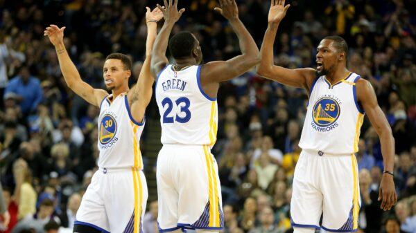 Stephen Curry, Draymond Green and Kevin Durant