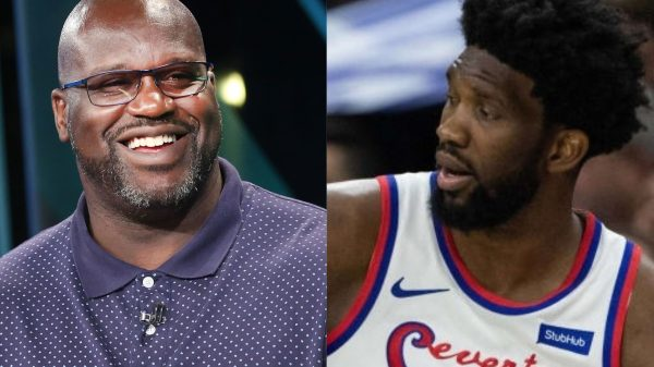 Shaquille O'Neal and Joel Embiid